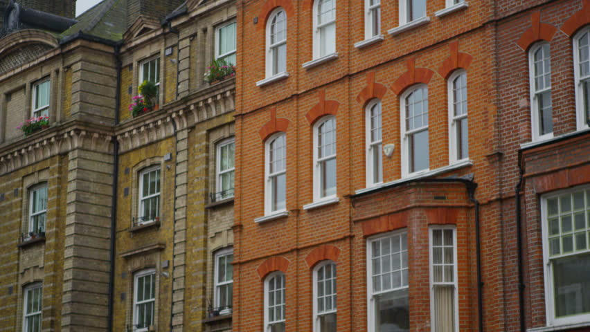 4k exterior view of period town houses in a london suburb uk january - Brick Apartment 2015