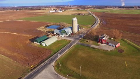Aerial view of America's Heartland, rural Wisconsin farms in Springtime.