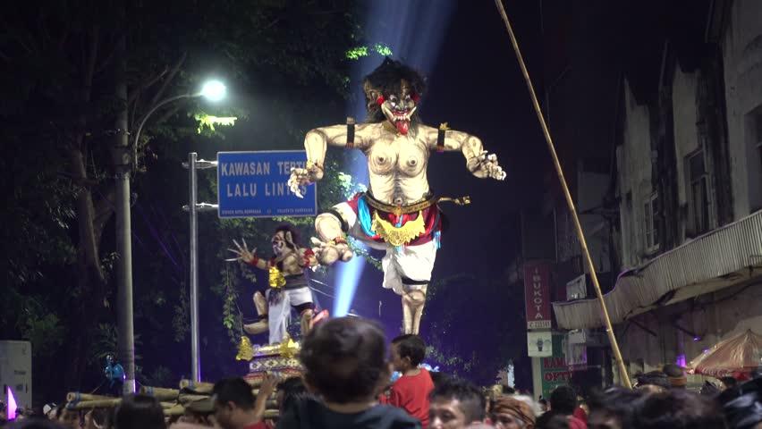 Ogoh-Ogoh parade preceding Nyepi in Denpasar, 8th of March 2016   Shutterstock HD Video #15361999