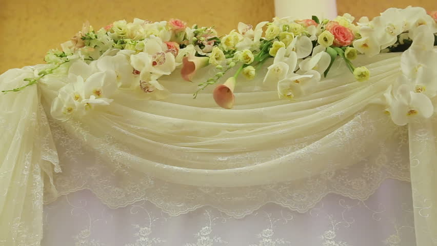 Wedding decorations with flowerserior of a wedding hall beautiful room for ceremonies and weddingsding conceptxury stylish wedding reception purple decorations stock footage video 15375559 shutterstock junglespirit Gallery
