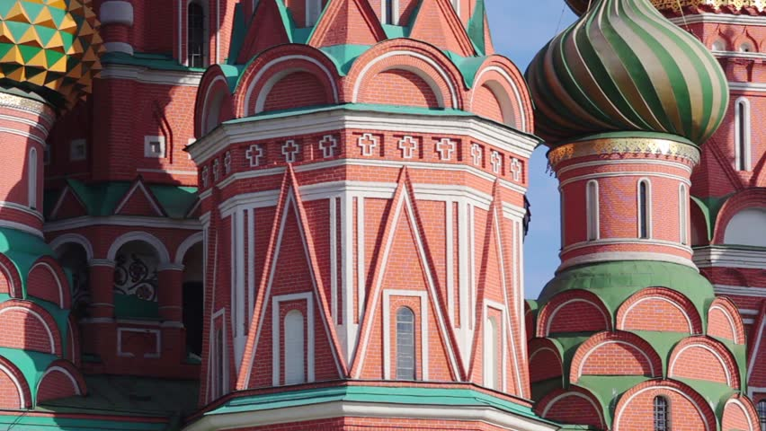 Red Square, Moscow Kremlin, St Basil's Church, temple dome panorama view | Shutterstock HD Video #15376399