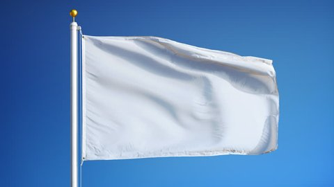 Empty white clear flag waving in slow motion against blue sky, seamlessly looped, close up, isolated on alpha channel with black and white luminance matte, perfect for film, news, digital composition