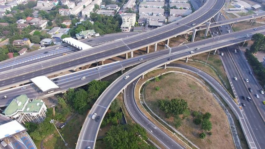 Aerial top view of Bangkok city, highway with car in city | Shutterstock HD Video #15402925