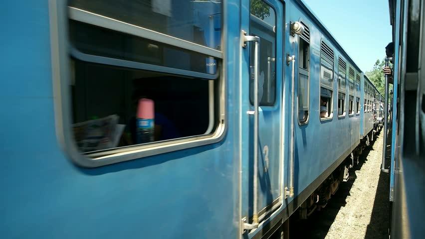 Sri Lanka - January 2016: Slow ride along highland train carriages.    Shutterstock HD Video #15403783