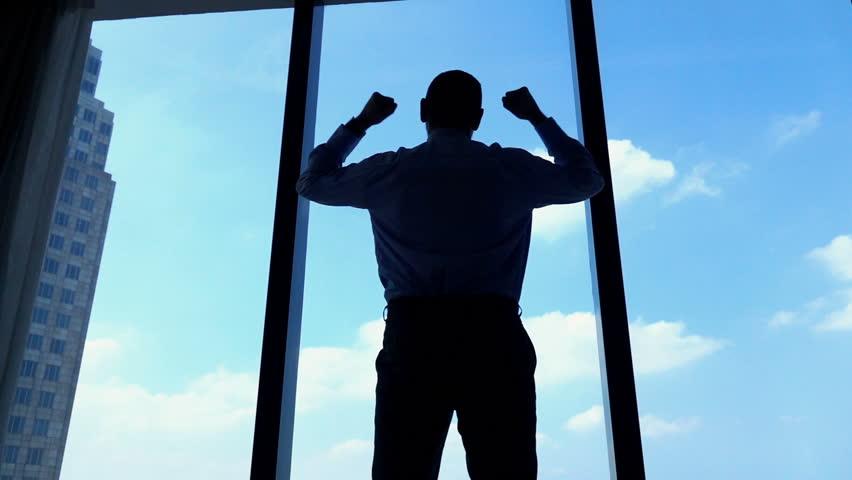Successful businessman raising arms, power symbol, super slow motion 240fps  #15404869