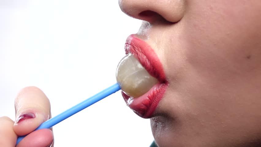 Beautiful, Sexy Woman Sucks Sweet Red Lipstick On Her -7784