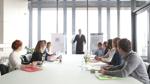 Handsome young director giving presentation to colleagues in conference room