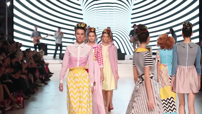 ZAGREB, CROATIA - MARCH 19, 2016: Fashion models wearing clothes designed by Zoran Aragovic for BiteMyStyle on the 'Fashion.hr' fashion show