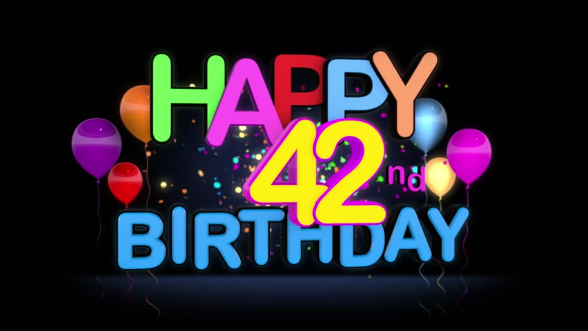 Happy 42nd Birthday Title Seamless Stock Footage Video 100 Royalty