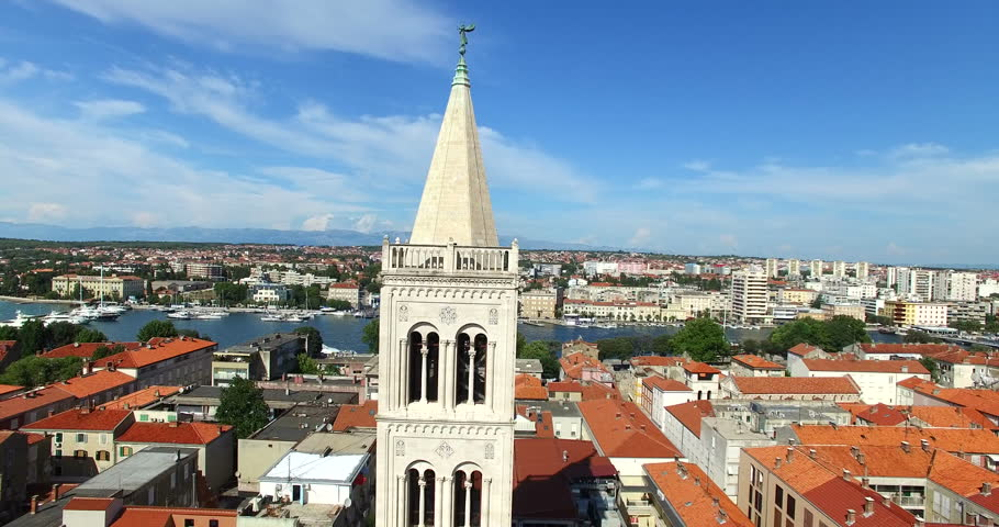 Aerial view of tower of cathedral of St. Anastasia in Zadar, Croatia | Shutterstock HD Video #15436939