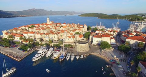 Aerial view of harbor in city of Korcula, located on the protected east coast of the island of Korcula in the Adriatic, Croatia