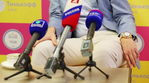 MOSCOW - JUN 03, 2015: Microphones during Oleg Tinkoff interview. Oleg Tinkoff is popular and successful Russian businessman