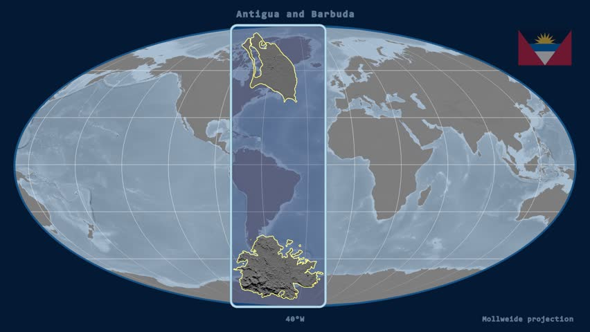Zoomedin View Of A Antigua And Barbuda Outline With Perspective