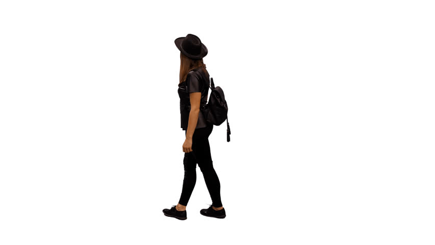 An elegant woman walking & watching something. Back view. 4k shot with alpha channel