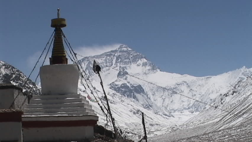 Rongbuk Monastery stupa with Mt. Everest in the background