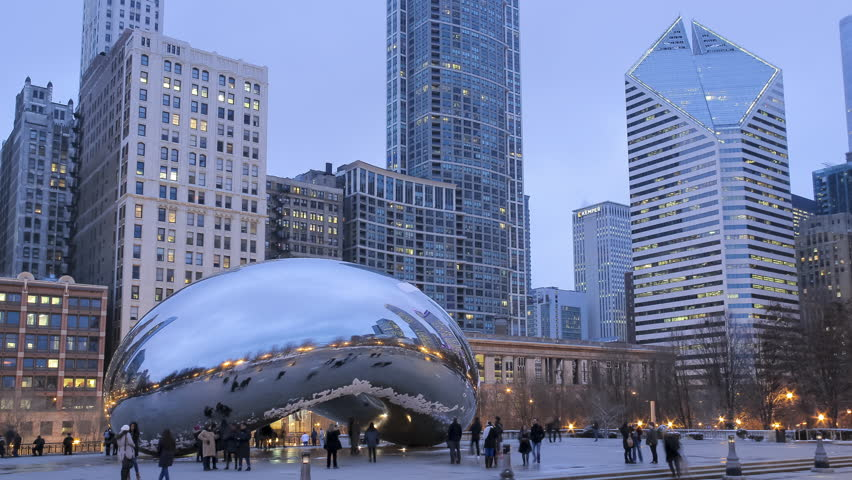Tourist Attraction Chicago Bean During a Early Spring Sunset Timelapse 4K UHD Ultra High Definition   Shutterstock HD Video #15459718