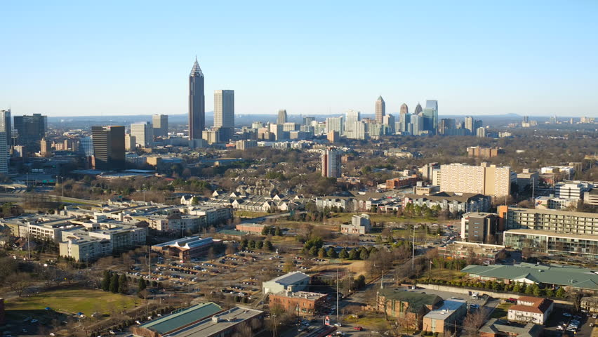 Atlanta Aerial v165 Flying over MLK Center panning in Sweet Auburn neighborhood with cityscape views.
