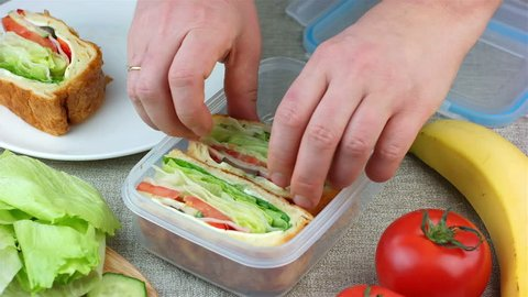 Woman made sandwiches and putting them into the lunch box