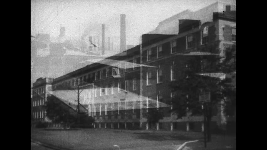 UNITED STATES 1930s Chimneys At An Abrasives Plant