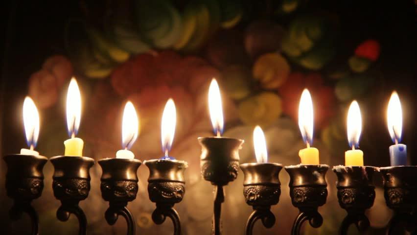 Hanukah candles celebrating the Jewish holiday