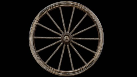 Old Weathered Worn Wooden Wagon Wheel Spinning with Alpha Channel