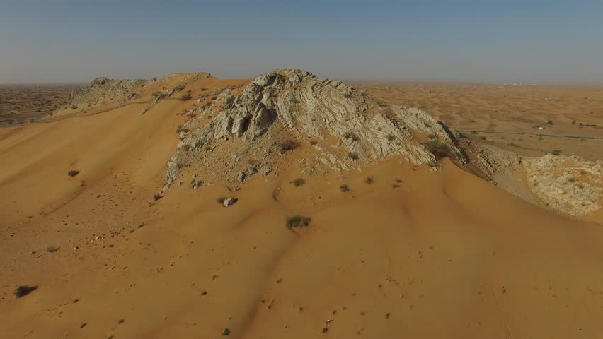 Aerial view of mountain in desert