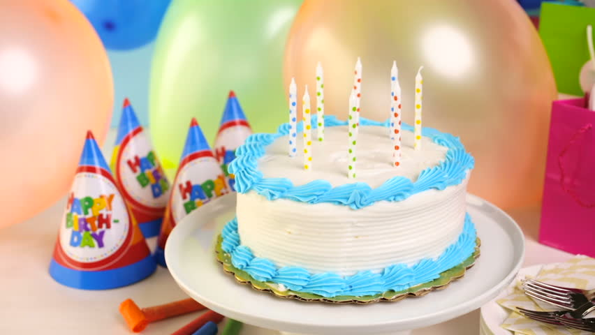 Birthday Cake Balloons Images ~ Empty table with cake and balloons stock footage video