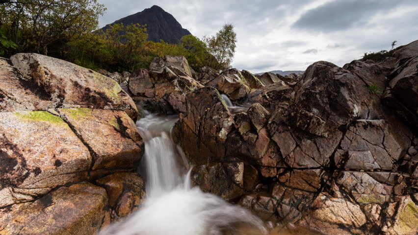 Timelapse of Secluded Waterfall by Buchaille Etive Mor in Scotland