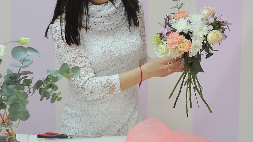 Florist Collect Beautiful Bouquet Of Flowers | Shutterstock HD Video #15633826
