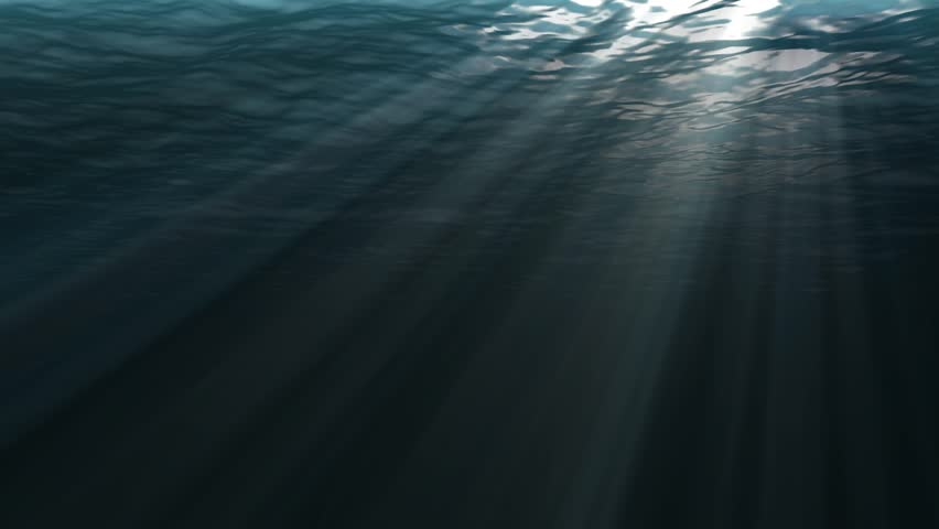 CARIBBEAN UNDERWATER SCENE. 30 seconds loop animated 3D of a Sunset from underwater.