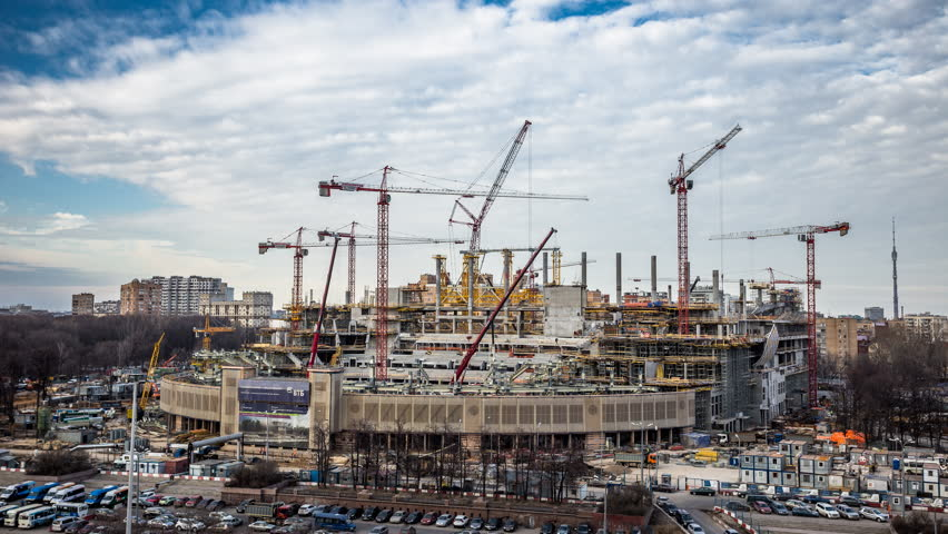 Cranes at work. Stadium construction timelapse.