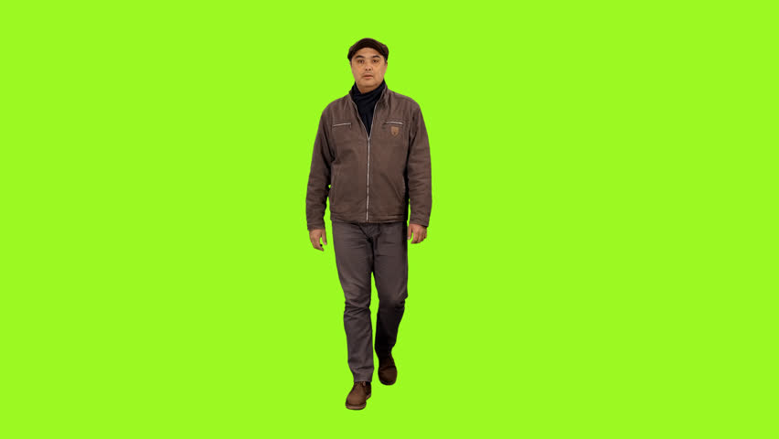 Front view of a man walking on a transparent background, Full HD shot with alpha channel