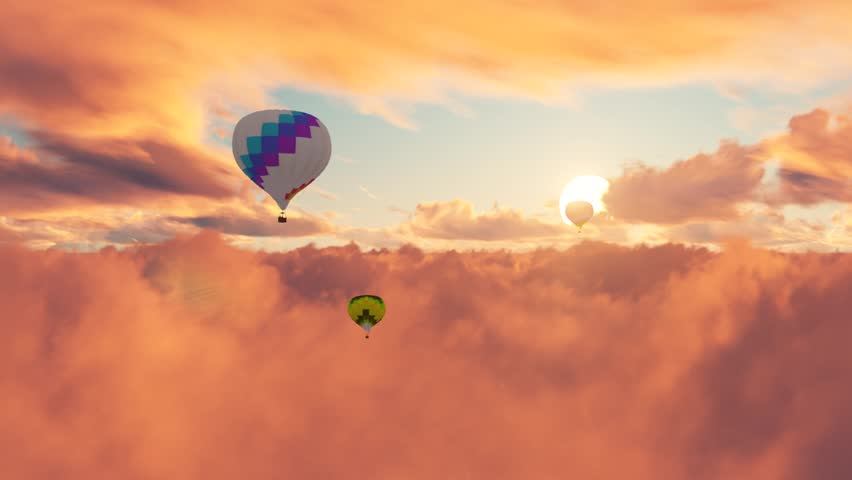Hot air balloons traveling at sunset.Beautiful Flying over the Clouds with the evening.3D animation.Vanilla sky, pink sky. Silhouette in the sunset. #15665869