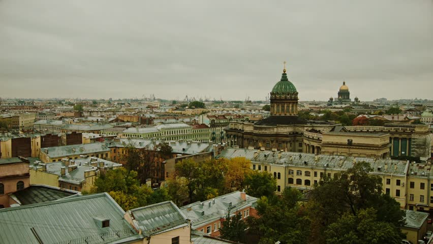 Saint-Petersburg, Russia. Saint Isaac's Cathedral. Big city , Old Town . View from above. City landscape. Historical Center. Panoramic view. | Shutterstock HD Video #15683689