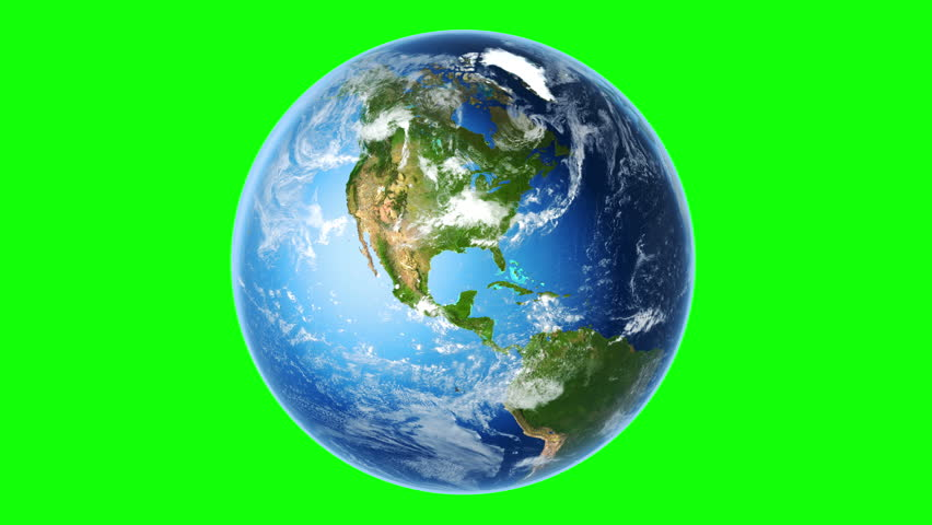 4K Realistic Earth Rotating (Loop on Greenscreen). Globe is centered in frame, with correct rotation in seamless loop. Perfect for your own background using green screen. Texture map courtesy of NASA.