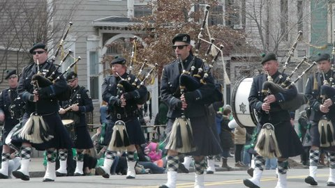 Bagpipers Boston Police- St. Patrick's Day Parade- Boston 2016