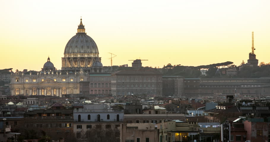 Rome, Italy - illuminated St Peter´s Basilica at sunset with golden sky - view from Avenue of the trinity of the mountains - Timelapse - January 2015 | Shutterstock HD Video #15728299