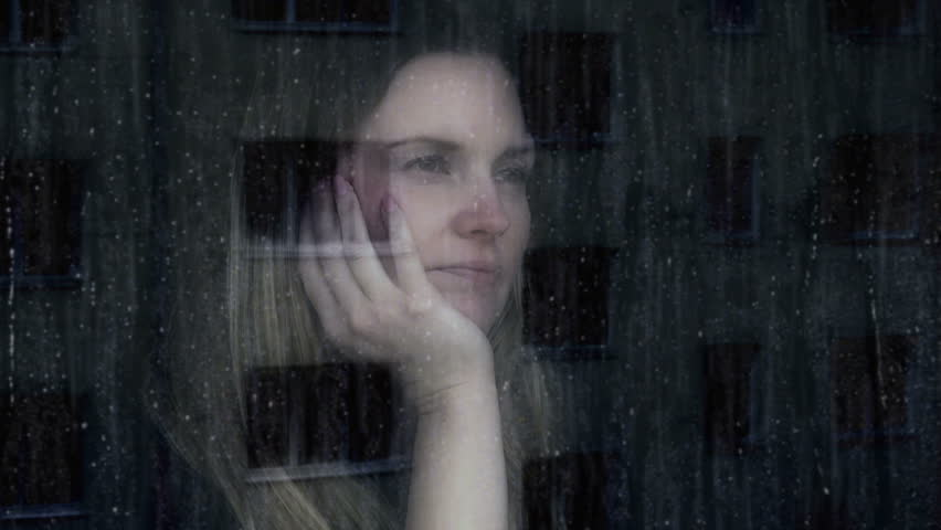 Sad Weeping Young Woman. Young Woman Looking Out Of A ...