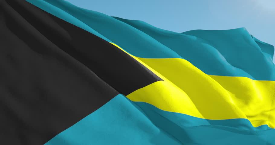 Beautiful looping flag blowing in wind: Bahamas