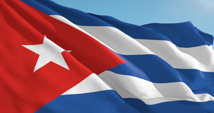 Beautiful looping flag blowing in wind: Cuba
