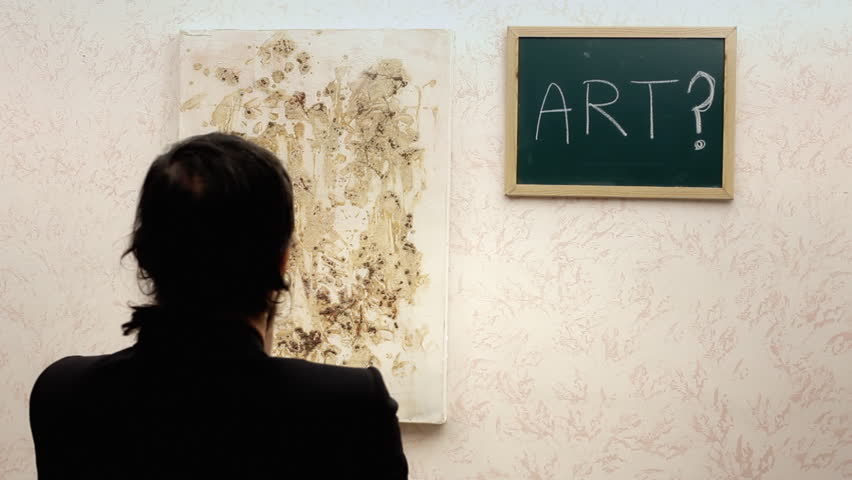 A critic at an art exhibition choosing between an abstract painting and a valueless frame, taking the frame. Funny scene.