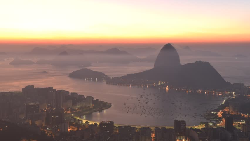 Timelapse of Sunrise in Rio de Janeiro with the Sugarloaf Mountain in the Horizon | Shutterstock HD Video #15797239
