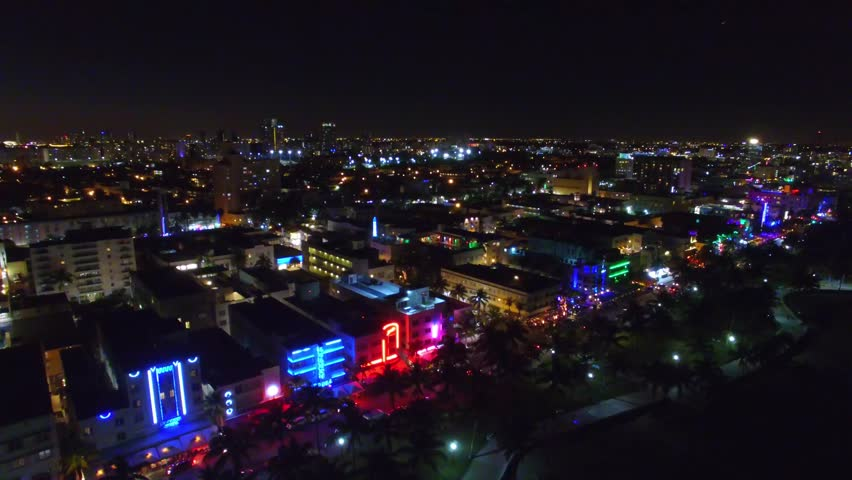 Aerial View Of Miami Beach Ocean Drive At Night With Neon Lights