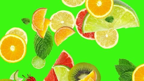 Cocktail of fruits, detox cocktail, detox water, detox juice, detox diet, animation fruits falling down on green screen chroma key background