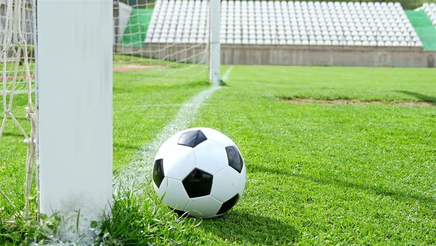 4k00 08Football game. Soccer action. Ball stops just before goal line 2af4598de