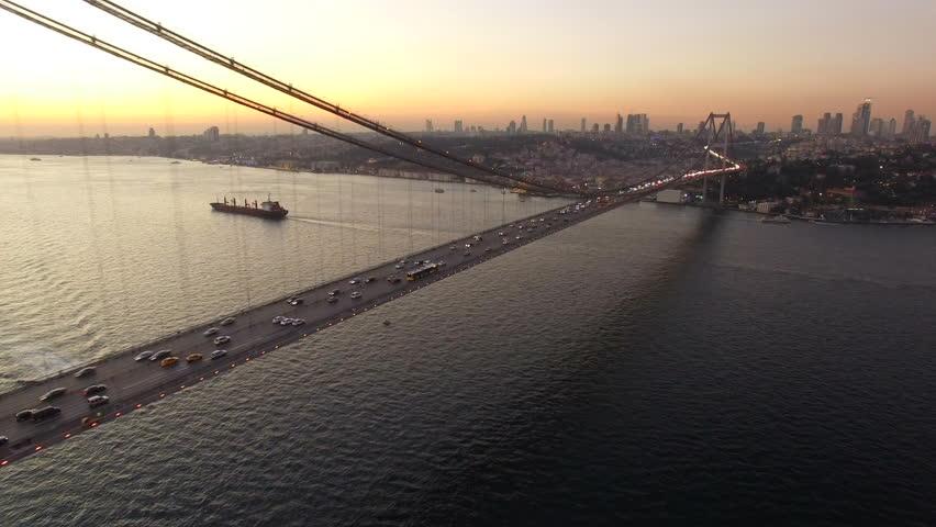 Aerial Shot Istanbul Bosphorus Bridge