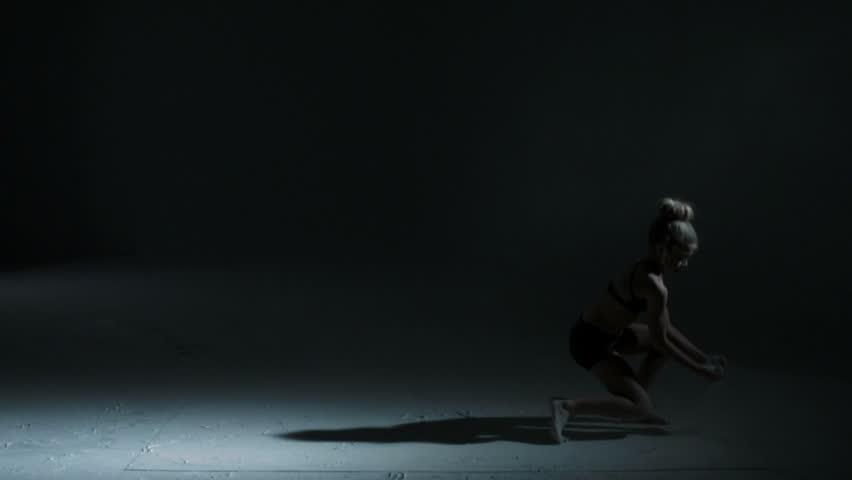 Caucasian child female dancer black clothing indoors studio freestyle dancing powder spot light dramatic edgy movement & Caucasian Teenager Dancer Black Leotard Indoors Studio Freestyle ... azcodes.com