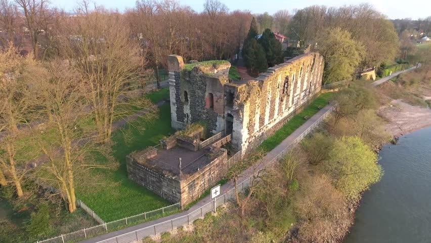 Aerial Flight Duesseldorf Luftaufnahmen Düsseldorf Kaiserpfalz Kaiserswerth historische Ruine