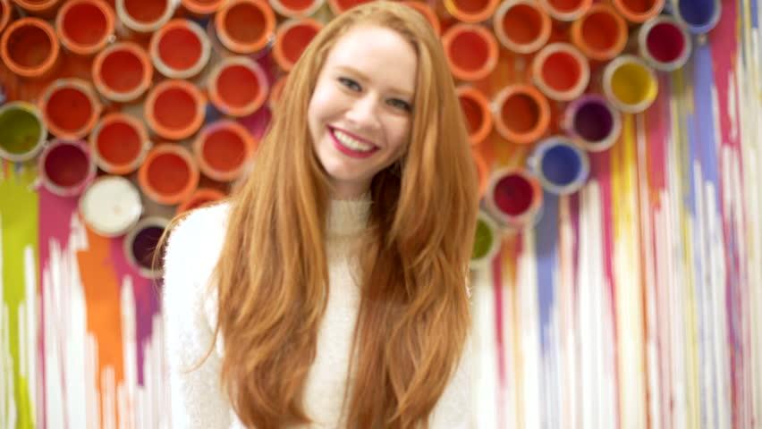 Caucasian video diary selfie energy USA shopping mall young female dance heart Hipster social media pretty redhead Boho portrait | Shutterstock HD Video #15894199