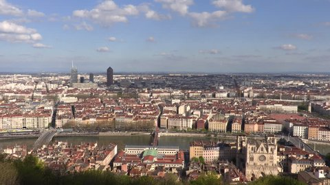 LYON, FRANCE, JULLY 3, 2015 : Different places in Lyon city center. Together with its suburbs Lyon forms the 2nd-largest metropolitan area in France with more than two millions.